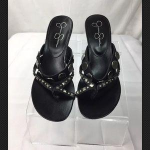Jessica Simpson Black Wedge Sandals Heel Sz 7.5 B